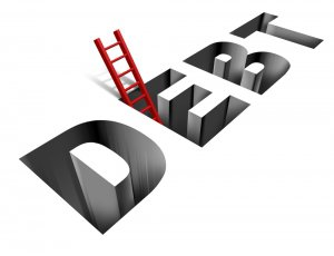 """Hole in the shape of the word """"debt"""" with a ladder climbing out"""