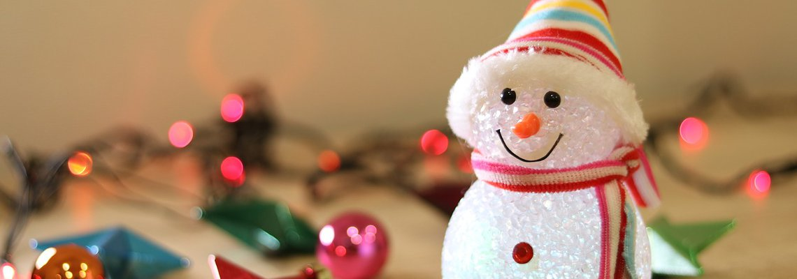 Holiday snowman next to ornaments