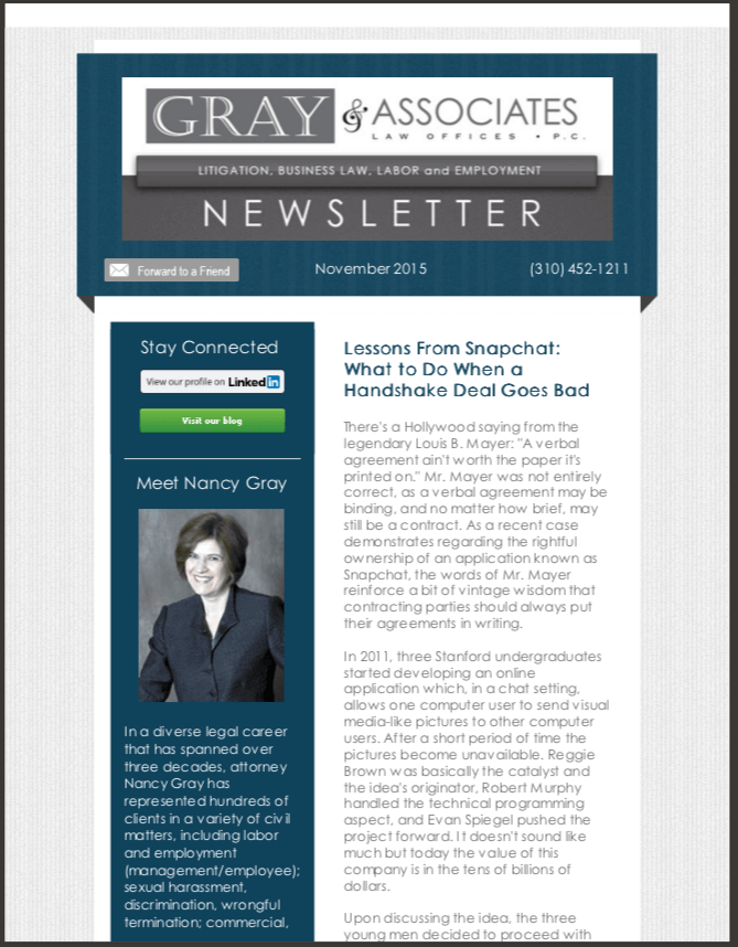 Gray & Associates November 2015 Newsletter