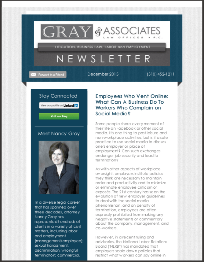 Gray & Associates December 2015 Newsletter