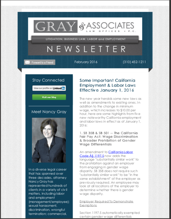 Gray & Associates February 2016 Newsletter