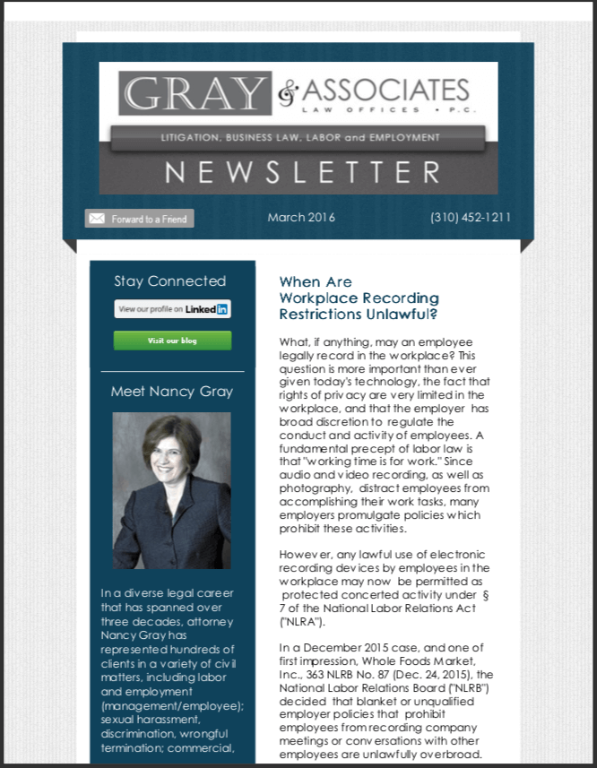 Gray & Associates March 2016 Newsletter