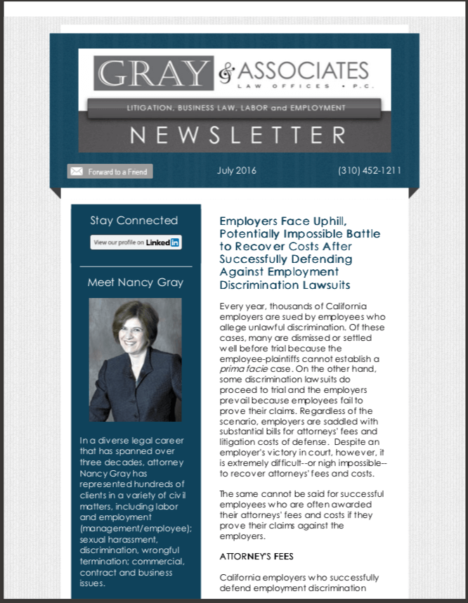 Gray & Associates July 2016 Newsletter