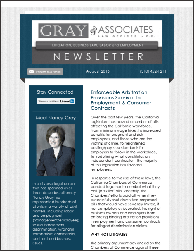 Gray & Associates August 2016 Newsletter