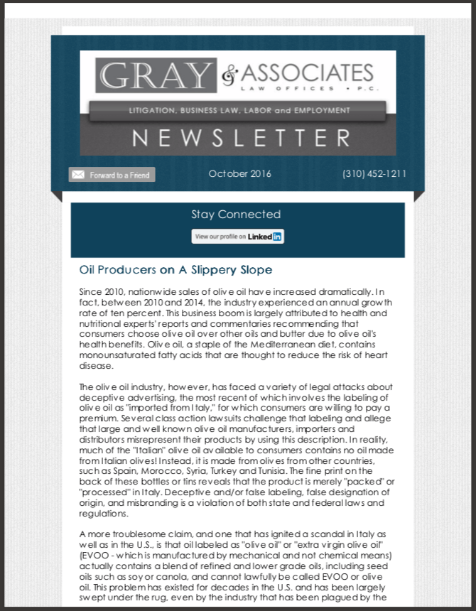 Gray & Associates October 2016 Newsletter