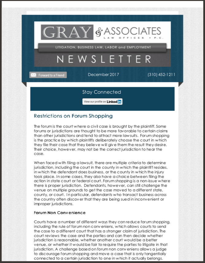 Gray & Associates December 2017 Newsletter