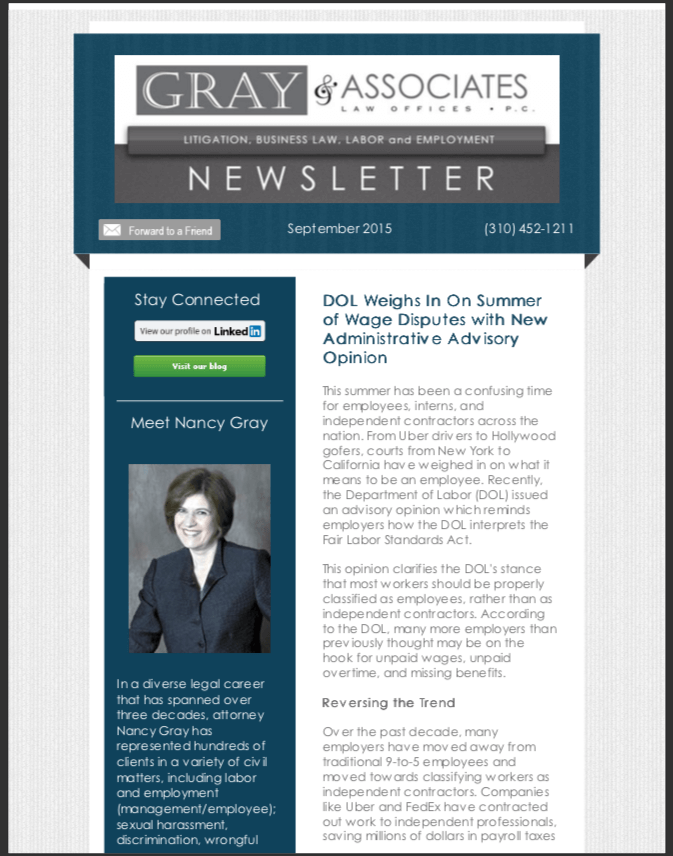 Gray & Associates September 2015 Newsletter