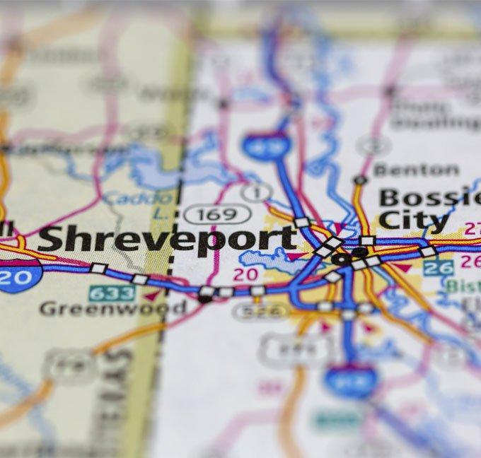 Shreveport Louisiana on a paper map