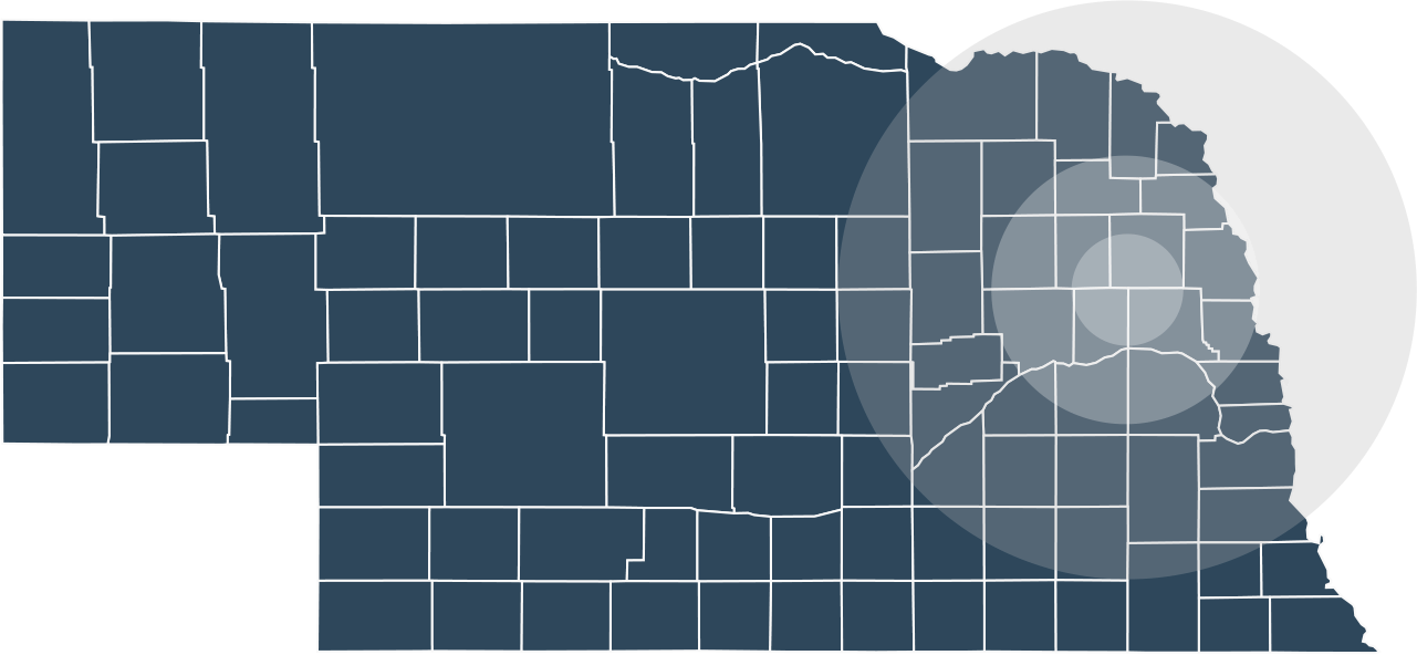 Nebraska map with eastern counties highlighted