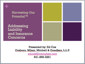 Addressing liability and insurance concerns