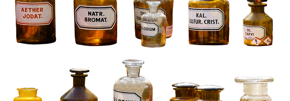 Old time Pharmacy glass bottles