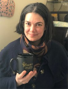 Heuer Client posing with Heuer the Lawyer Mug