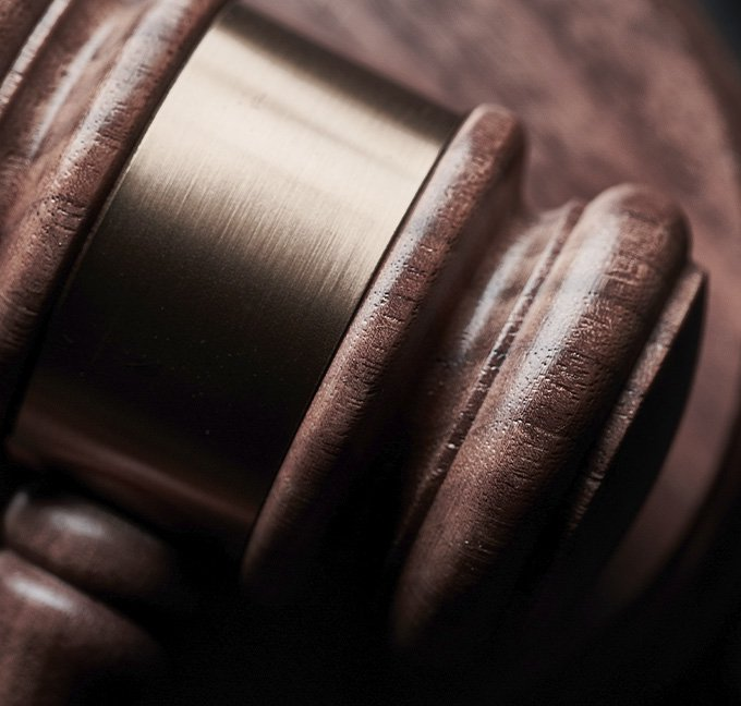 Gavel laying on a table
