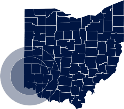 Blue map of Ohio with the south western counties highlighted