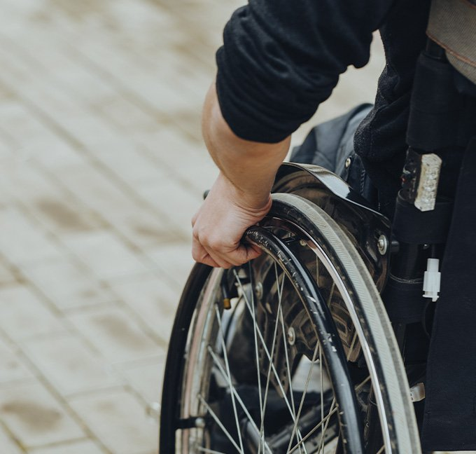 Close up of man in wheelchair