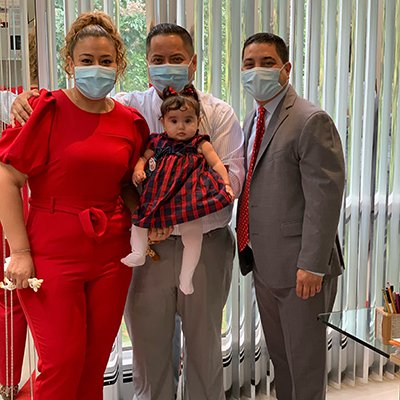 Attorney James M. Greenberg with family wearing masks