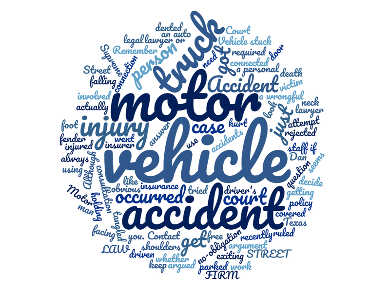 motor vehicle accident word cloud