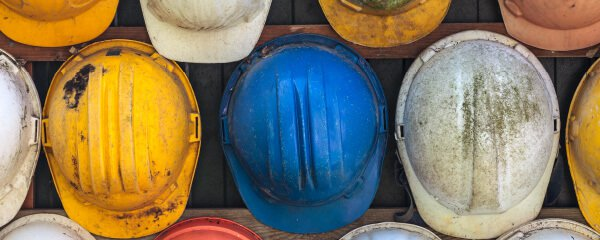 Colorful hard hats from above