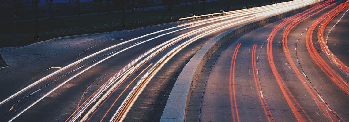 blurred car lights on highway