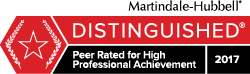 Martindale-Hubbel Peer Rated for High Professional Achievement 2017 award logo