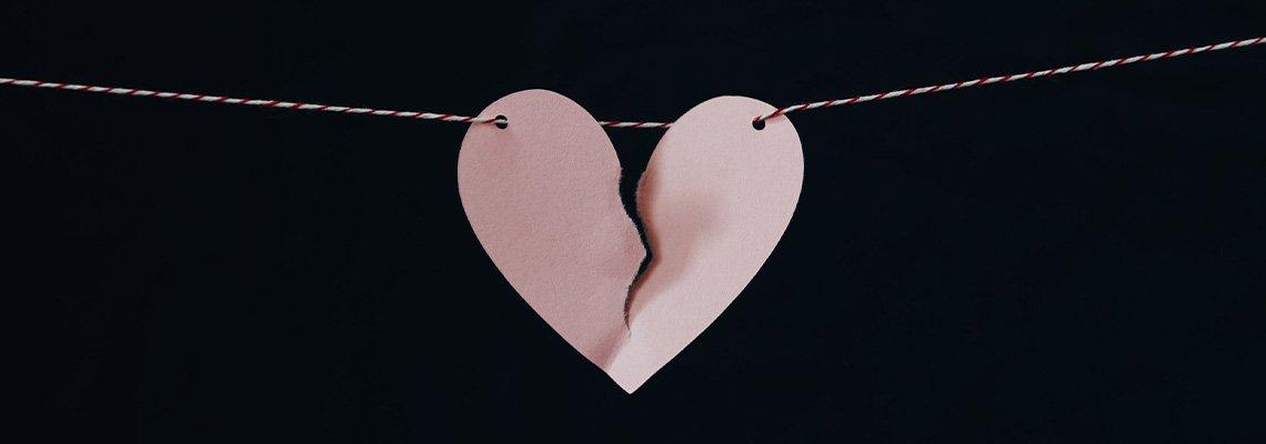 Paper heart torn