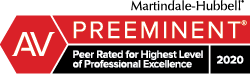 Martindale-Hubbell Peer Rated for Highest Level of Professional Excellence 2020 Badge