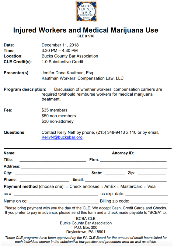 Injured Workers and Medical Marijuana Use CLE #916