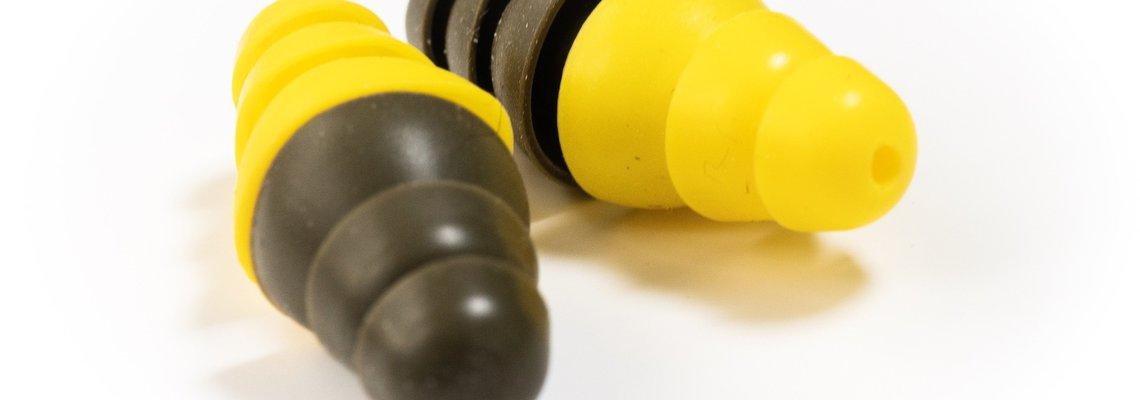 Green and yellow earplugs