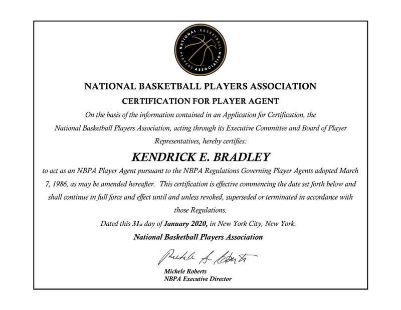 Player Agent Certification for Kendrick E. Bradley
