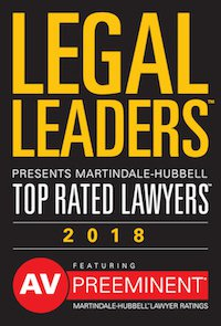Legal Leaders Top rated lawyers of 2018 badge