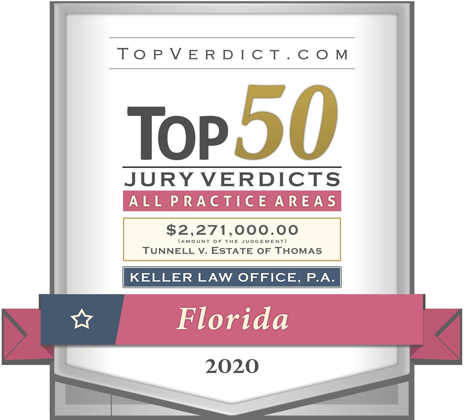 2020 Top 50 Jury Verdicts badge