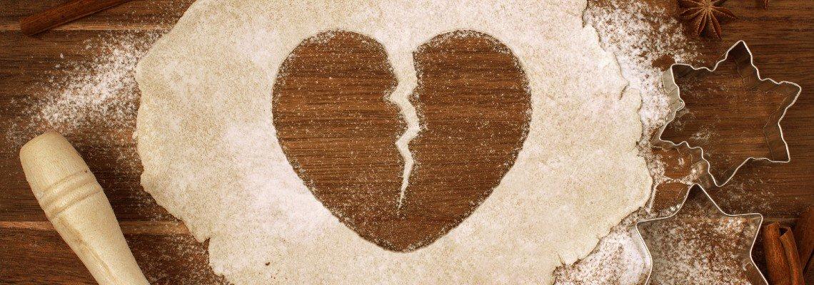 Broken heart made from cookie dough