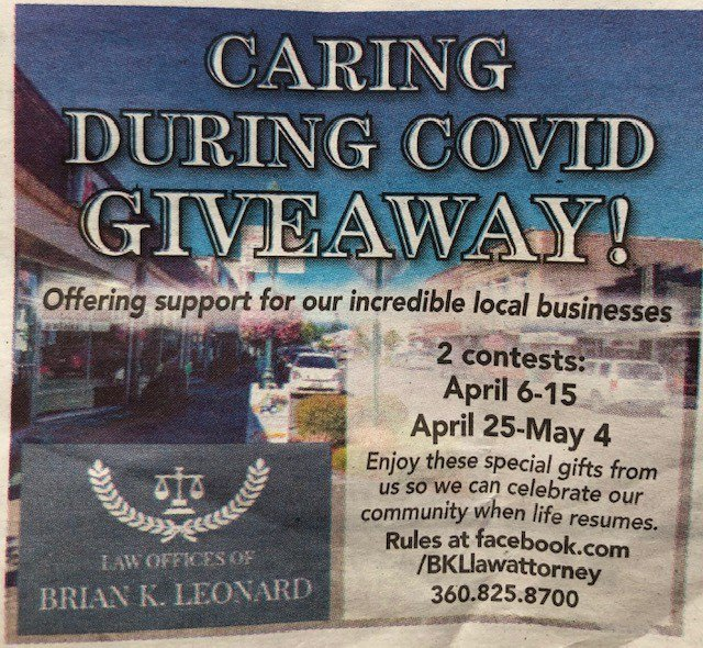 """""""Caring During COVID Giveaway"""" clip in local newspaper"""