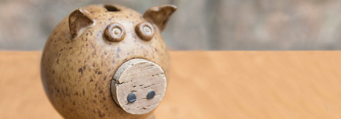 Piggy bank sitting on a table