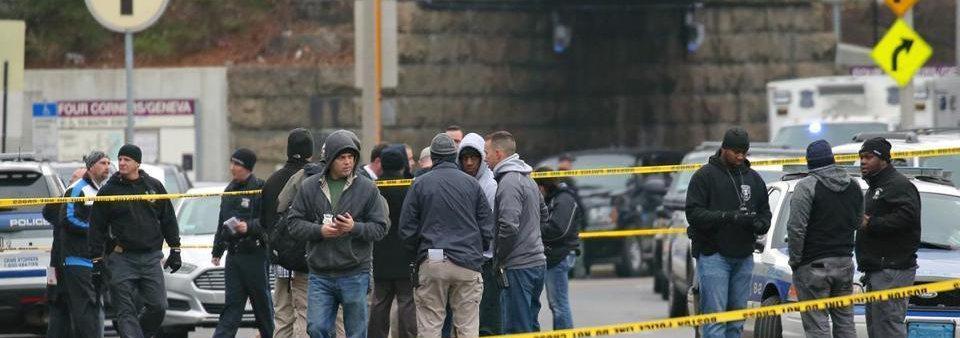 Boston Community and Police near a crime scene