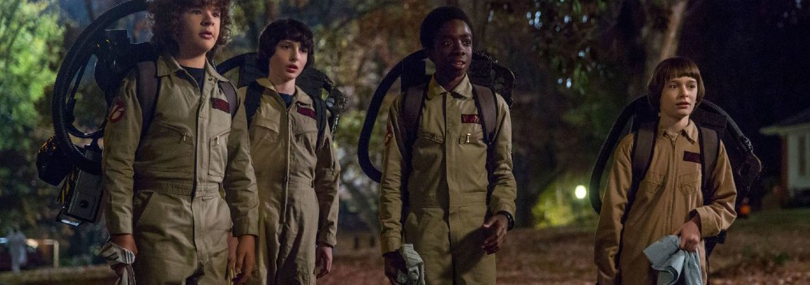 The Stranger Things kids dressed up like Ghostbusters