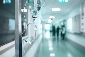 IV Drip in a hospital hallway