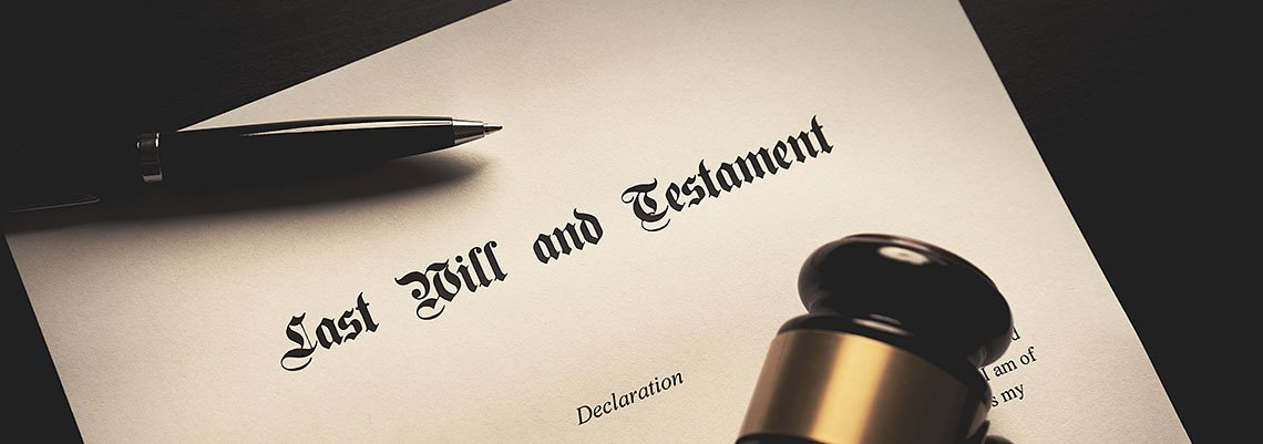 Last Will and Testament document with pen and gavel