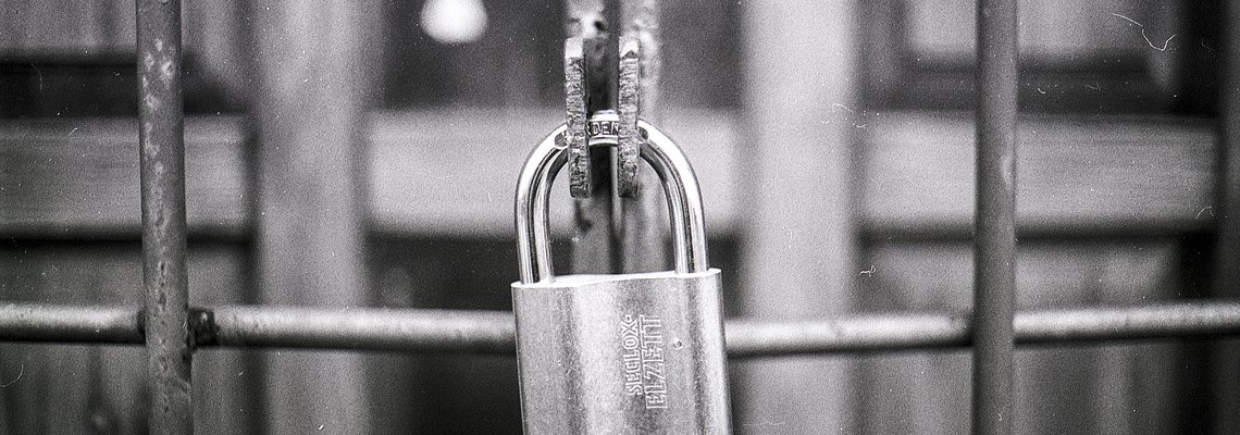 black and white padlock