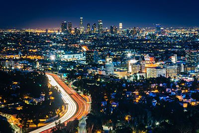 Skyline view of Los Angeles at night