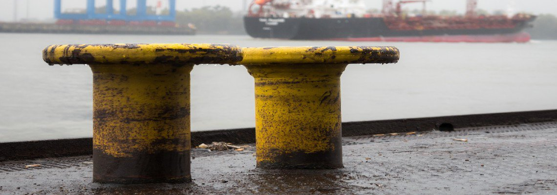 Rainy shipping docks