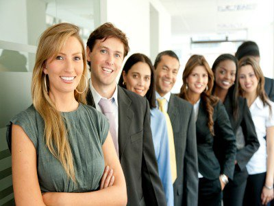 Group of business people smiling