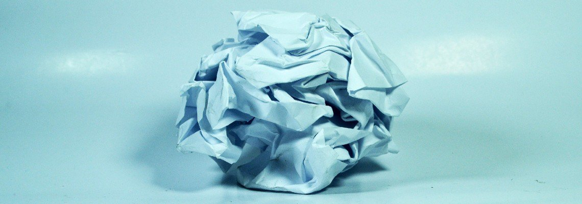 Paper crumpled into a ball