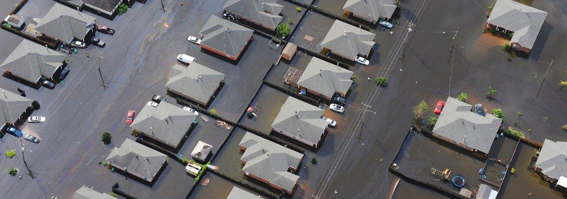 Aerial shot of a flooded neighborhood