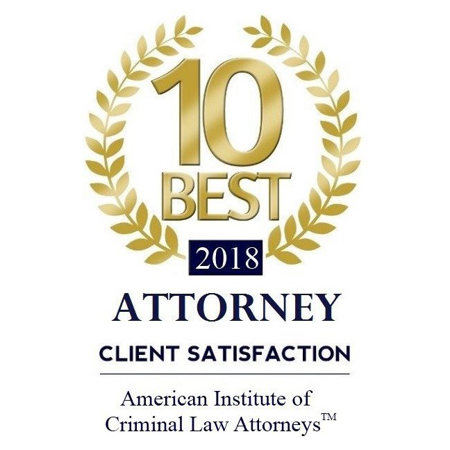 2018 Badge for 10 Best Attorney Client Satisfaction from the American Institute of Criminal Law Attorneys