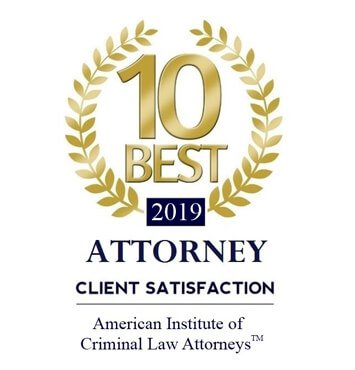2019 Badge for 10 Best Attorney Client Satisfaction from the American Institute of Criminal Law Attorneys