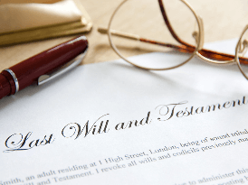 Last Will & Testament with a pen