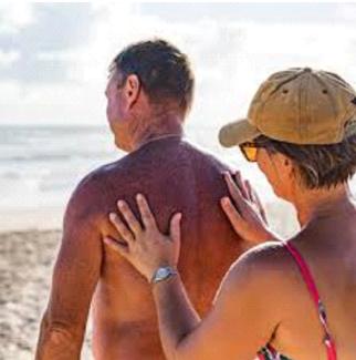 Woman Rubbing Man's Back