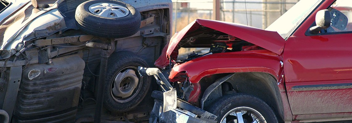 Truck and Car in a bad accident