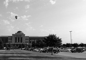 Black and white Collin County Courthouse